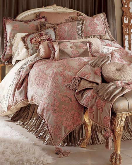 Rich Light Dusty Rose. Love the thickness of the comforterm the layers and the tassle edging.