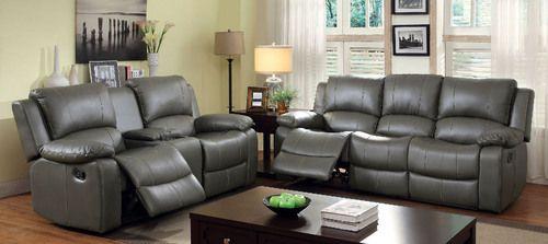 2 PC Furniture of America Sarles Collection Gray Reclining Sofa & Loveseat Set CM6326