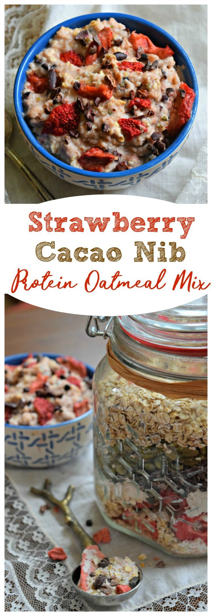Strawberry Cacao Nib Protein Oatmeal Mix can be prepped ahead of time and kept in the pantry for months. Just add water or milk and microwave for one minute for a quick and nutritious breakfast for busy weekdays.