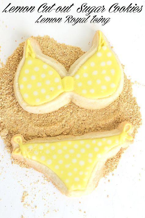 Lemon Cut-out Sugar Cookies with Lemon Royal Icing. Fun and summery flavored yellow polka dotted bikini cookies!