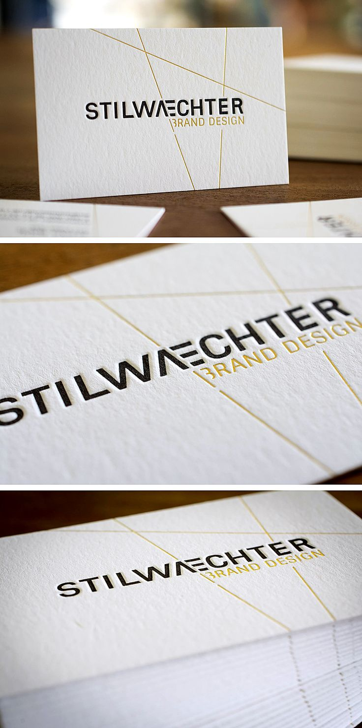 Letterpress Business Card STILWAECHTER BRAND DESIGN with hot foil stamping in gold www.stilwaechter.de | Letterpress Manufaktur Hamburg