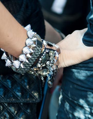 I'm usually a gold-en girl but these statement bracelets worn by Sarah Rutson at the Marc by Marc Spring/2011 are just phenom