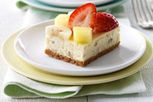 Banana Split-Cheesecake Squares recipe from Kraft Foods.