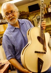 John Monteleone:  There are very few names that consistently top the list of archtop luthiers and John Monteleone is one of them.  His instruments are breathtaking and awe-inspiring. John was born in Manhattan in 1947 to a family of craftsmen that traces their roots to Palermo. Monteleone's father was a skilled artist and sculptor.  John also learned woodworking from his father as well as the ability to understand a variety of materials and designs.