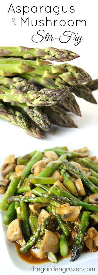 Love this dish! Quick asparagus and mushroom stir-fry with a scrumptious Asian garlic sauce. You can easily change it up with your own favorite veggies! | thegardengrazer.com | #healthy #vegan