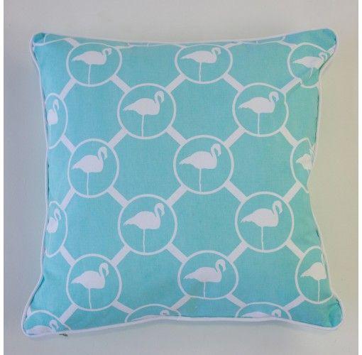 Flamingo Cushion in aqua 45cm