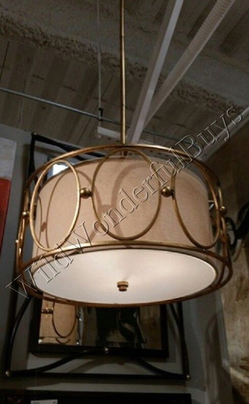 Antique Gold Drum Shade Chandelier Modern Contemporary Neiman Marcus Light New #Modern