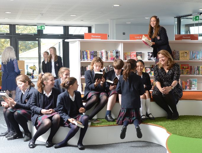 Author visit in library, King Edward's School, Bath - designed by Opening the Book