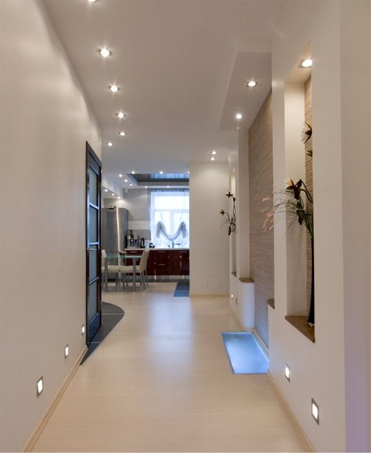 hallway decorating ideas - lighting is key to the success of a space - here floor wall and ceiling lights are used. : contemporary hallway decorating ideas - www.pureclipart.com