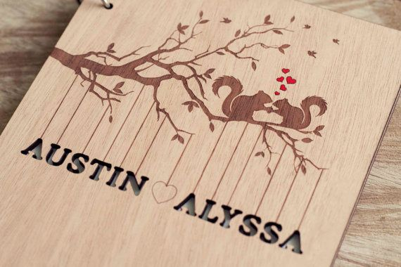 Custom Wedding guest book wood rustic wedding guest book album bridal shower engagement anniversary