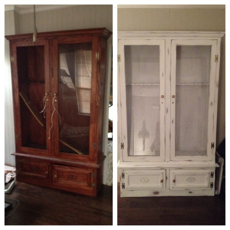 gun cabinet redo with chalk paint can 39 t wait to do this. Black Bedroom Furniture Sets. Home Design Ideas