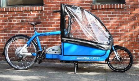 Bullitt electric cargo bike with rain canopy