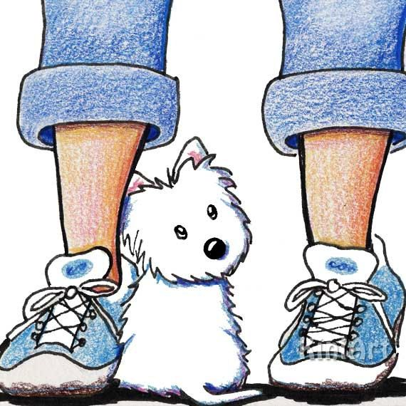 "© KiniArt™ - ALL Rights Reserved. Framed Original Westie Dog Art Illustration FROM children's book, MUGGLES' NEW HOME by Kim Niles. $250.00.  Niles' westies are highly unique westie terrier artworks, globally recognized as ""KiniArt westies""."