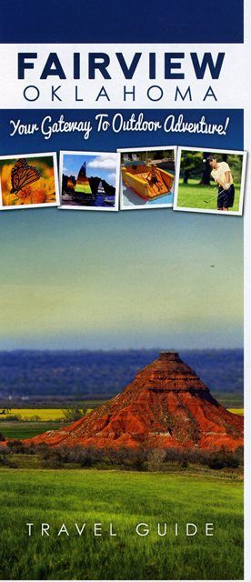 """This vibrant city located at the foothills of the Gloss Mountains in northwest Oklahoma offers visitors a blend of spectacular natural beauty and enjoyable outdoor recreation. Place an order for this free brochure to read more about the water, mesas, prairies, dunes, state parks, wineries, hunting, fishing, golfing, racing and horseback riding. Fairview can be """"your gateway to lots of outdoor adventures."""""""