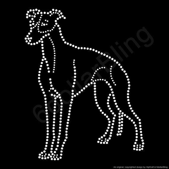 """Strass di ferro per il trasferimento """"Levriero italiano muta"""" cane razza cristallo Bling Design"""