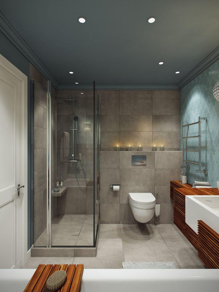 интерьер санузла с ванной и душевой кабиной