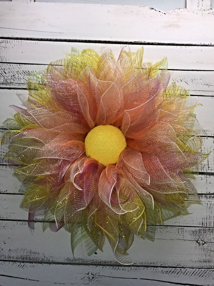 Spring Wreath, Summer Wreath, Everyday Wreath, Deco Mesh Flower Wreath, Summer Wreath for Front Door, Spring Wreath for Front Door, Great Gift Idea, Mother's Day Gift, Bright Colorful Summer Wreath, Decorative Wreath, Front Door Wreath, Home Décor, Sunny Door Wreath, Handmade Wreath