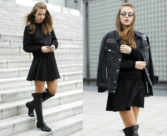 Dominique B. - Lee Jeans Jacket, Missguided Sweater, Roland Overknee Boots - Classic black