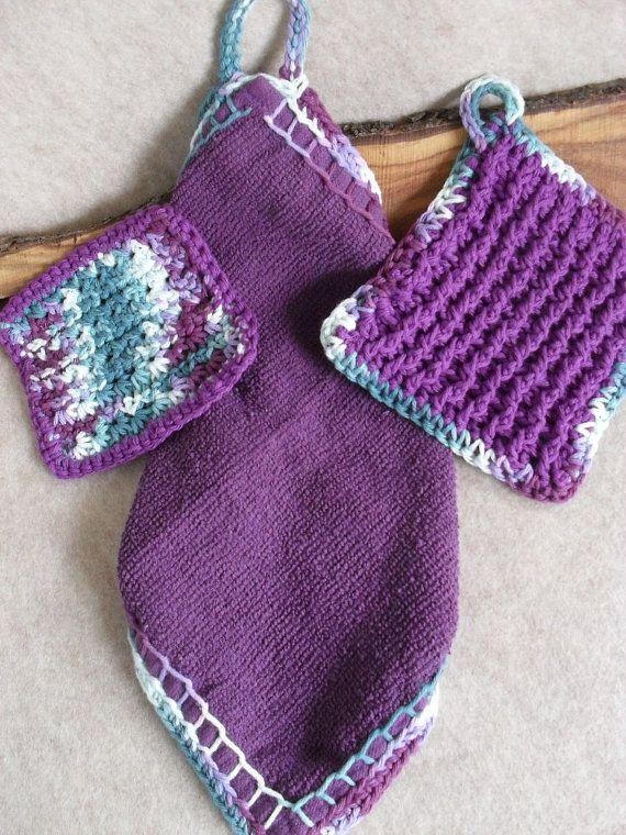 Purple Towel Kitchenette Set: hand towel crochet dish door ZcrochetZ