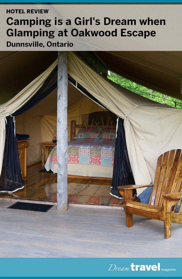 Escape to Dunnville Ontario for a girl's camping trip. At Oakwood Escape you get the feeling of camping but within a glamping tent, with a queen sized bed and flushable toilets and showers just steps away.