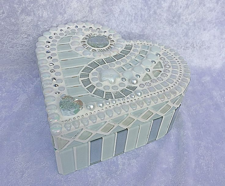 White glass mosaic heart shaped box by mimosaico on Etsy