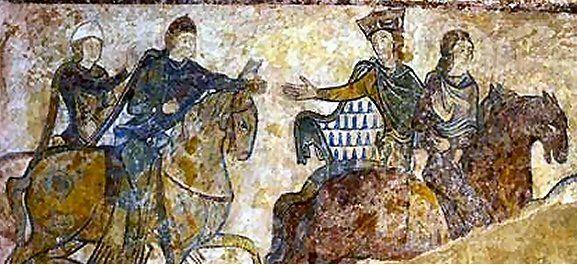 Alienor à cheval avec son fils Jean sans Terre - Chinon Septembre 1200 - Fresque de la Chapelle Ste Radegonde à Chinon