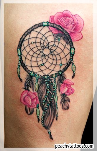 Dreamcatcher Tattoo Designs | Peachy Tattoos - Peachy Tattoos - Pink Roses Dreamcatcher Tattoo