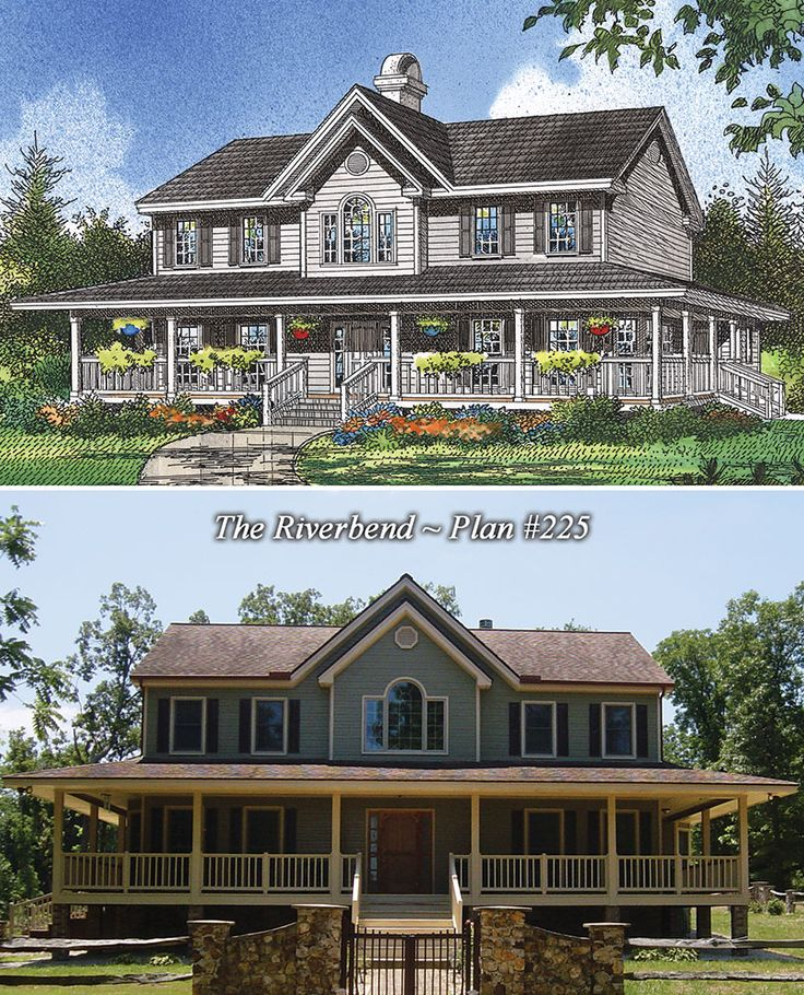 97 best rendering to reality completed images on pinterest for Double front porch house plans
