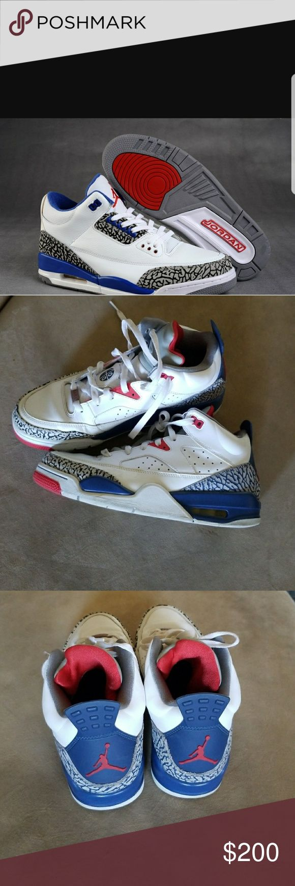 Jordan Retro 3 son of Mars spike lee low blue red 2016 release.. Pre-Owned size 9.5 MEN. Show signs of use.  Good condition. Colors are Blue white and red... Jordan Shoes Athletic Shoes