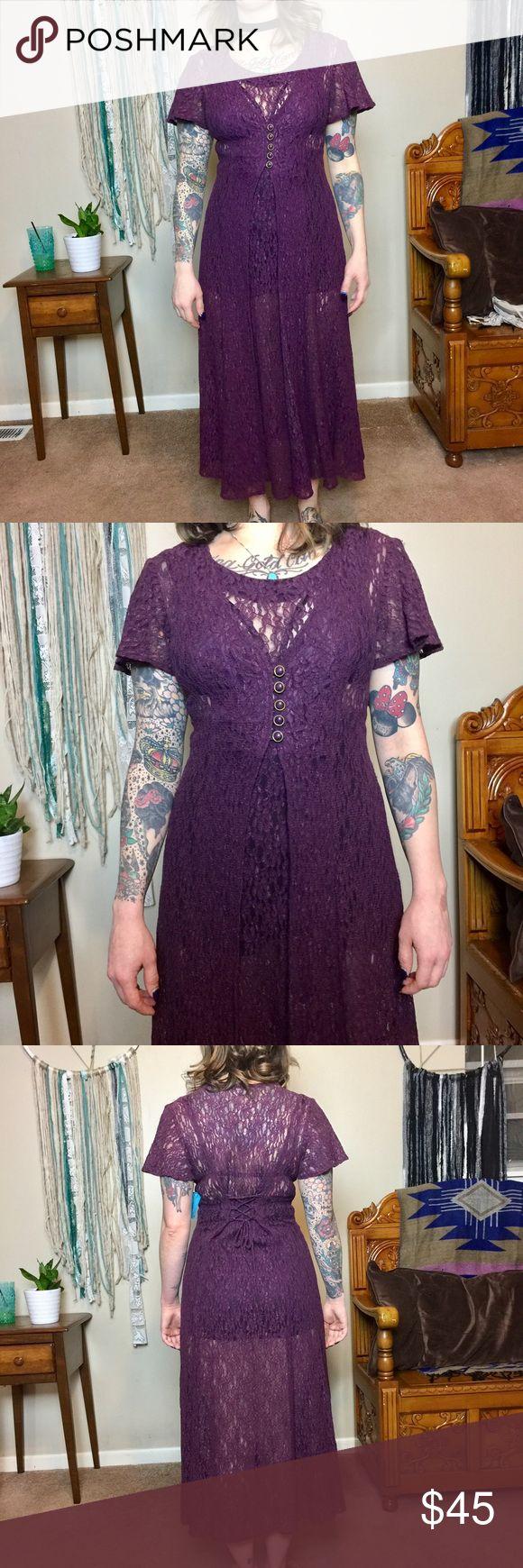 Vintage deep plum lace dress. Sheer lace w tie Awesome deep plum lace dress. Completely sheer. In great condition. Vintage Dresses Maxi