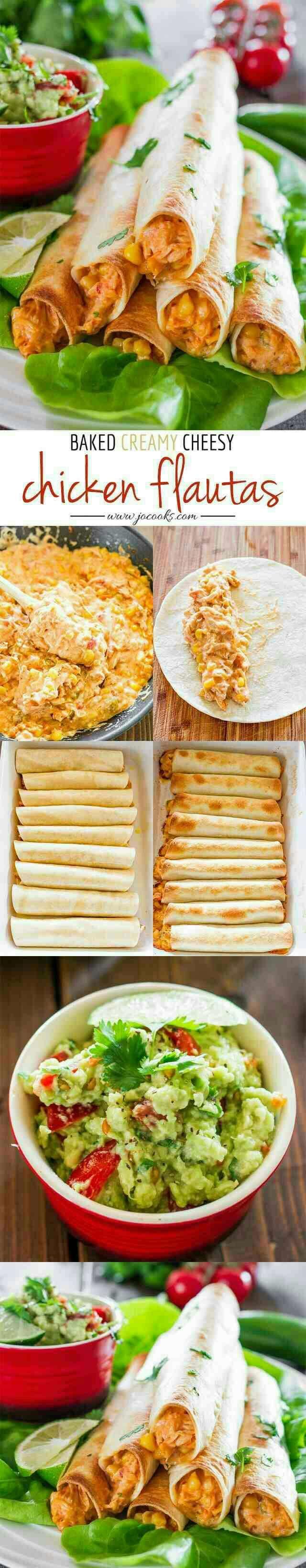 creamy cheesy chicken fluatas with guacamole