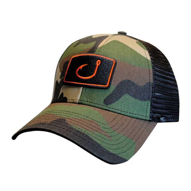Camo fishing trucker hat products fishing and fishing hats for Fishing trucker hats