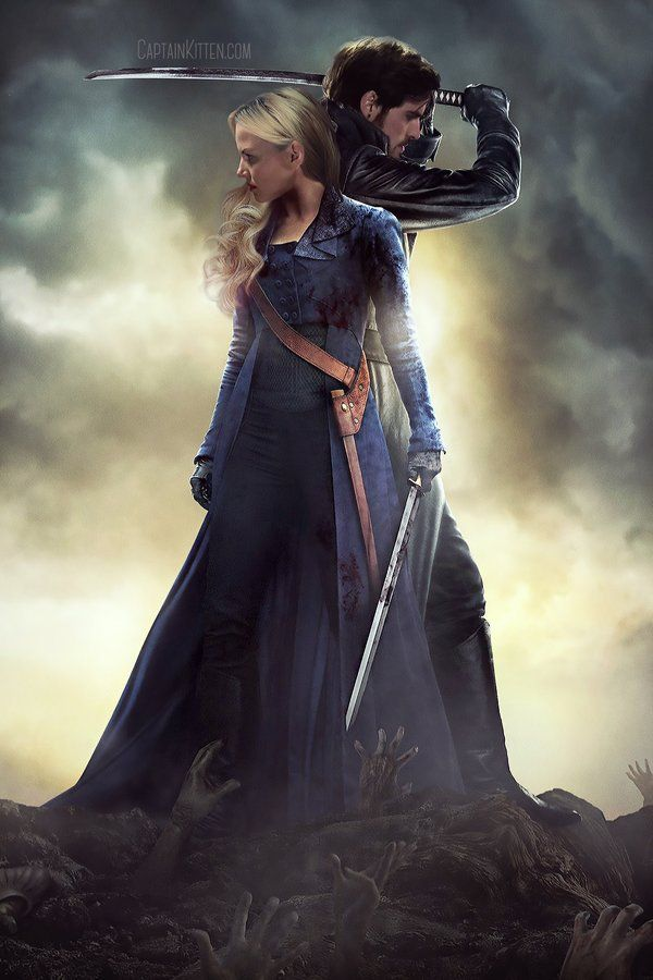 Emma Swan and Hook done up like the cover of Pride and Prejudice and Zombies