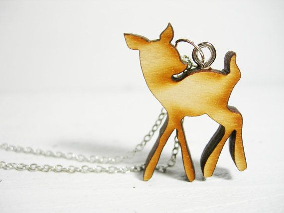 Wooden Deer Fawn Silhouette Charm Necklace by katykristin on Etsy