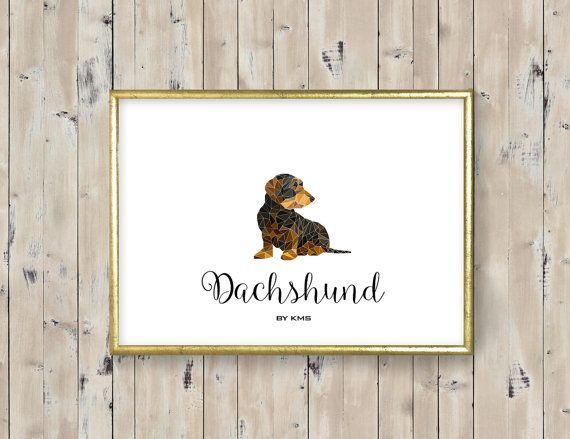 DACHSHUND dog printable. Hunting dachshund DOG by KeepMakingSmiles