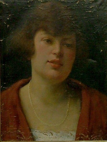 """FEIKL Stanislav (1883-1933): """"Portrét dívky s perlovým náhrdelníkem"""""""