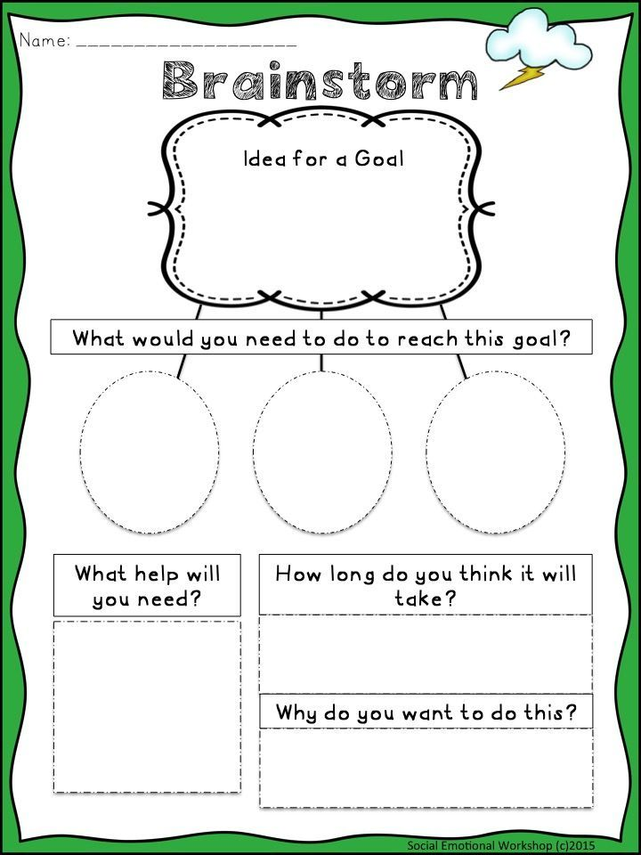 Brainstorming Page. Writing SMART Goals  S.M.A.R.T. Goals are perfect to help students of all ages practice goal setting and monitoring.