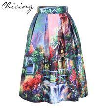Живопись женская юбка мода 2015 весна винтаж отпечатано бальное платье плиссированные высокая талия миди юбка Saia дамы юбки 141208 (China (материк))