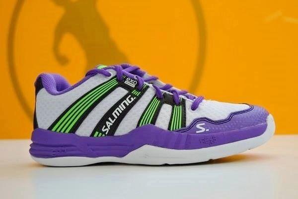 Nuevas Salming R5 2.0 (violeta-blanco-verde). Ya disponibles en nuestra tienda física y online www.puntofuerte.es ¡Hazte con ellas! #zapatillas #balonmano #Salming