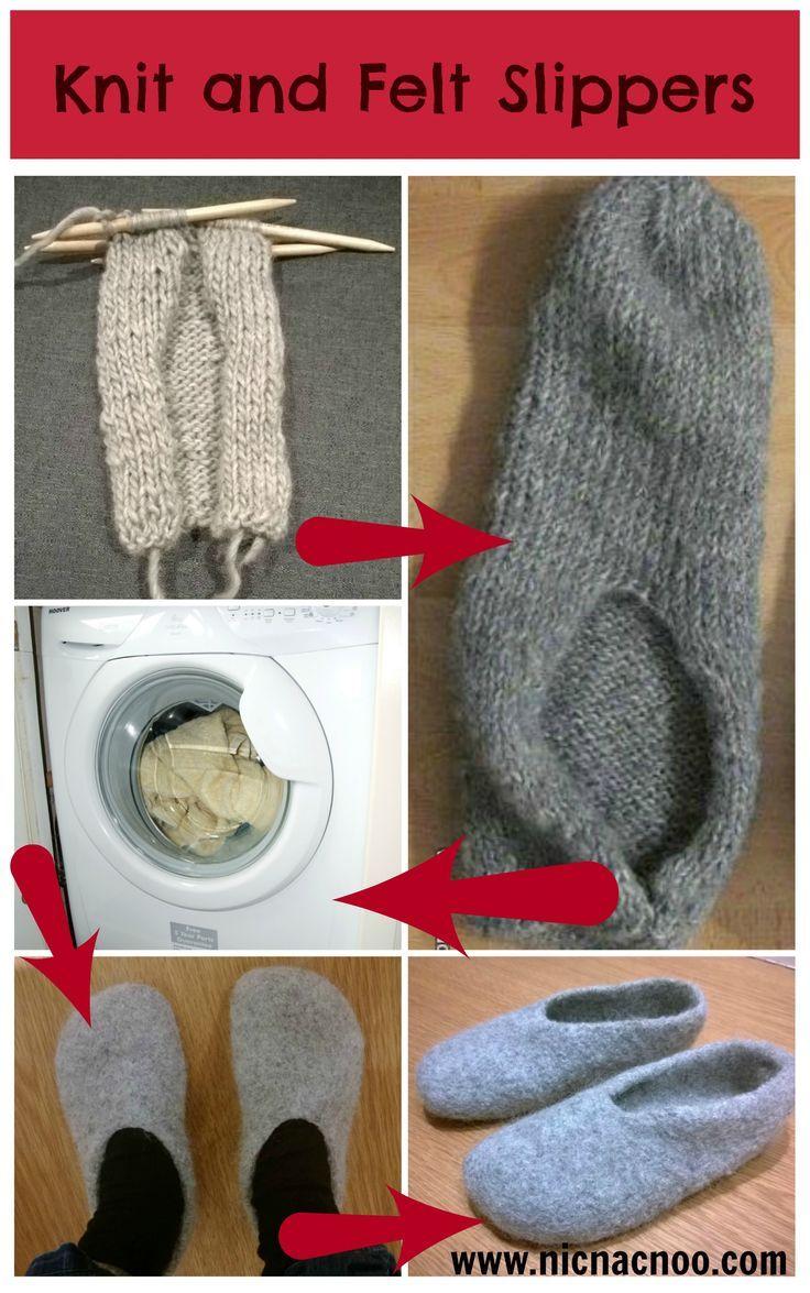 free knitting pattern- knit and felt wool slippers - Tutorial