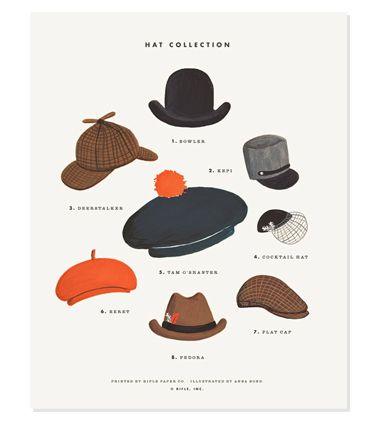 Hat Collection Print by Rifle Design. @Sara