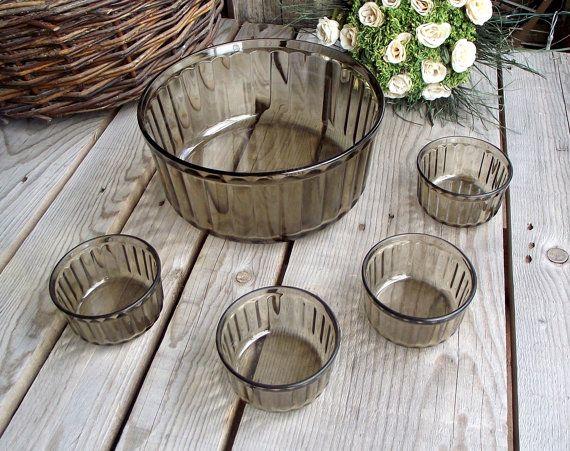 Smoky Glass Souffle Set  Arcopal Souffle Dish by MyFrenchBricABrac