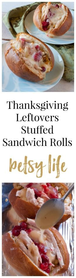 Thanksgiving Leftovers Stuffed Sandwich Rolls Recipe. Put your turkey, stuffing, cranberry sauce and gravy into a bread roll, top it with cheese and bake it to crispy perfection.
