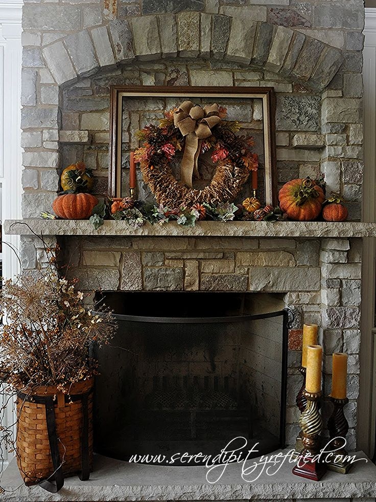 Fall Mantel with DIY Coffee Filter Wreath by Serendipity Refined