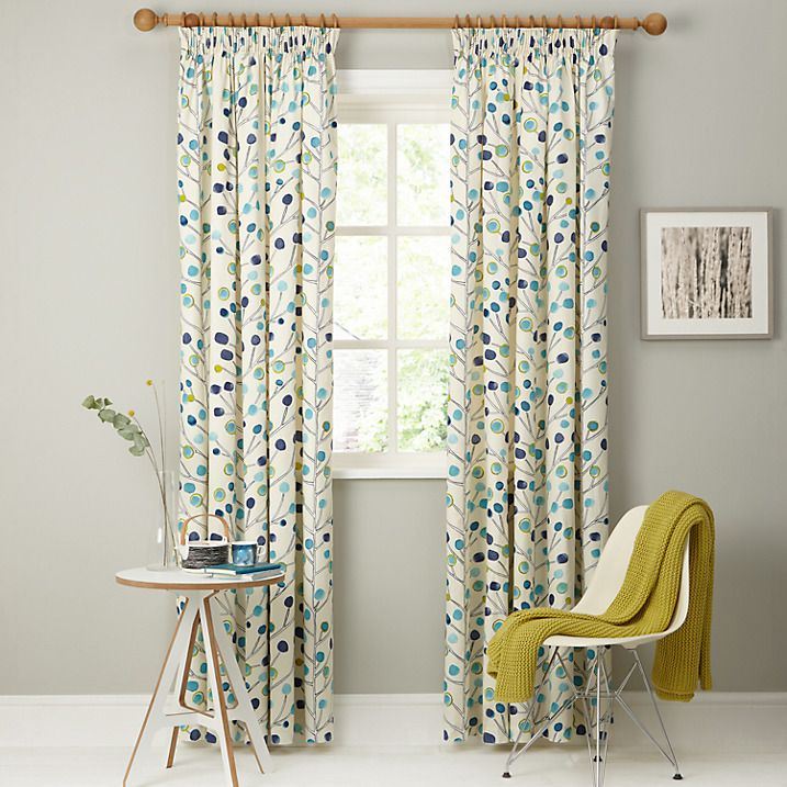 Buy Scion Berry Tree Lined Pencil Pleat Curtains, Blue