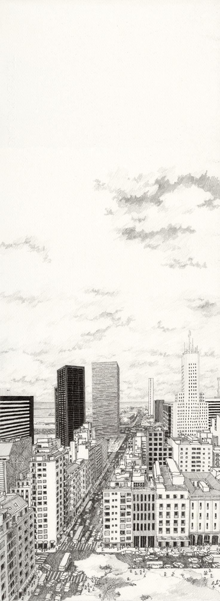 Desenhos de apresentação de concurso para elaboração de um Edifício em Buenos Aires, projeto do Escritório de Arquitetura Isay Weinfeld, 2011.