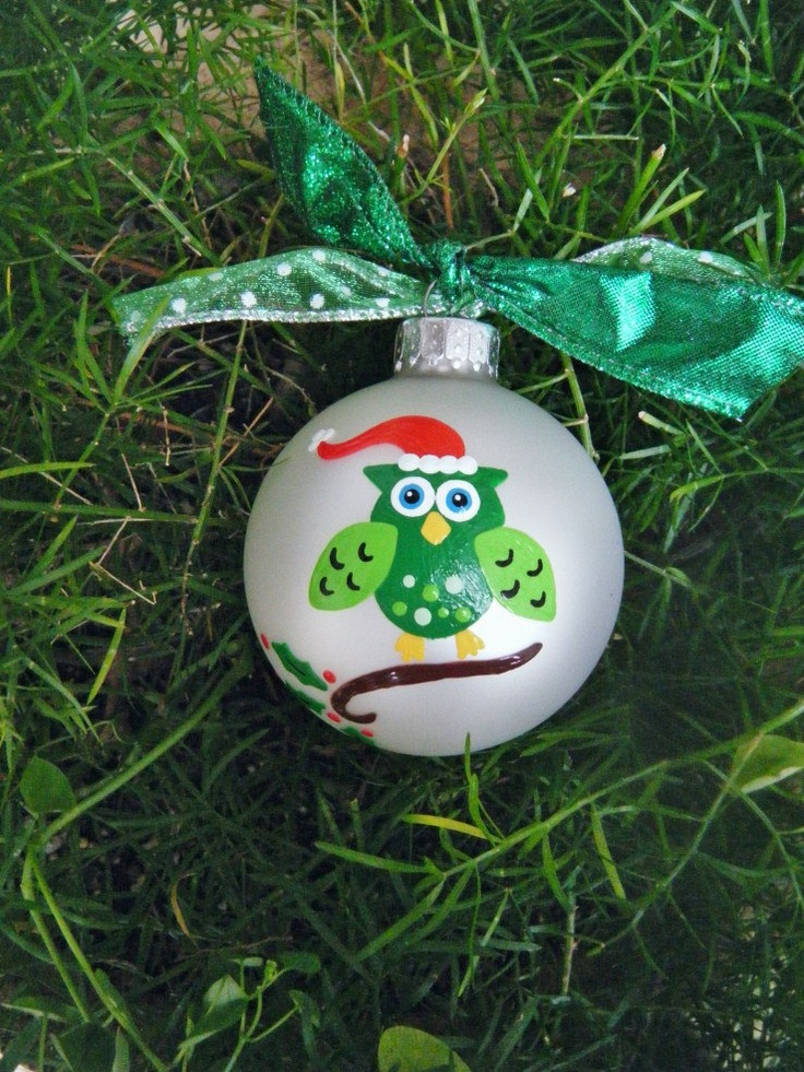 Christmas Owl Ornament - Santa Owl - Handpainted Personalized Glass Ball Ornament. $15.75, via Etsy.
