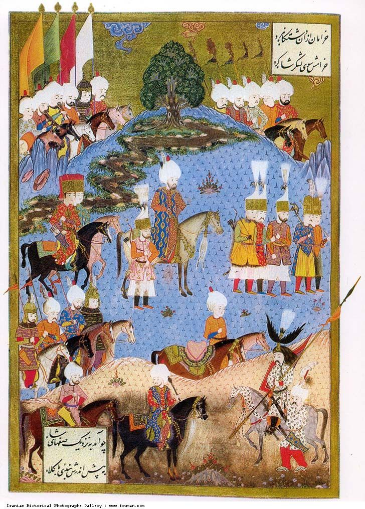 A miniature painting shows Ottoman Victory over Safavid ruler and capturing of Nakhjevan Sultan Suleyman forces. Caucasia was the scene of endless wars between Iran and Ottoman Empire.