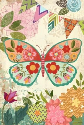 Boho Butterfly Vert by Jennifer Brinley | Ruth Levison Design