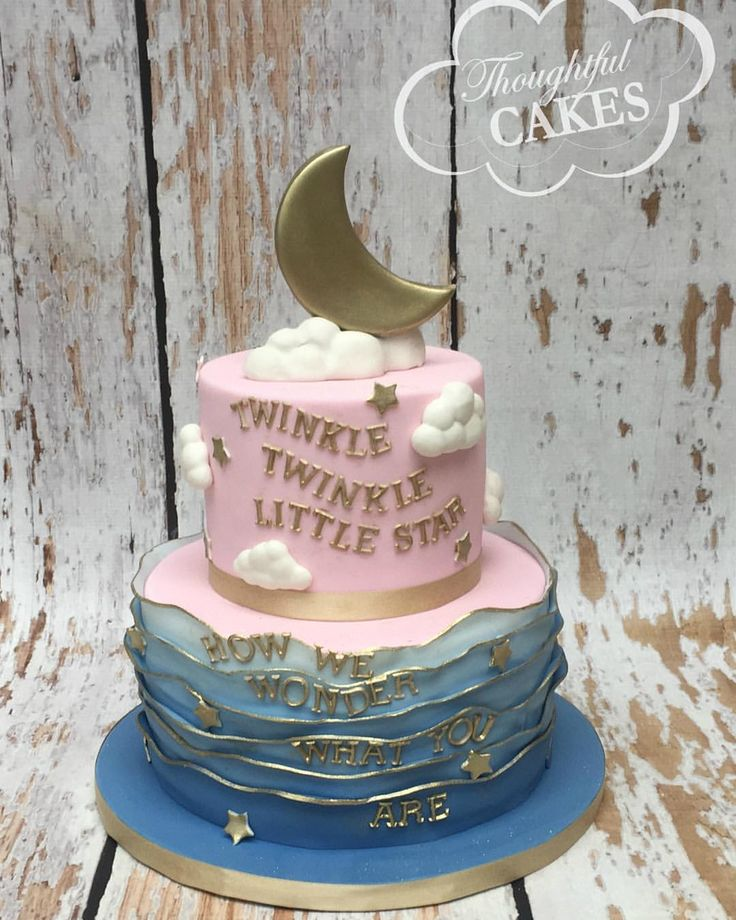 Twinkle twinkle little star gender reveal cake